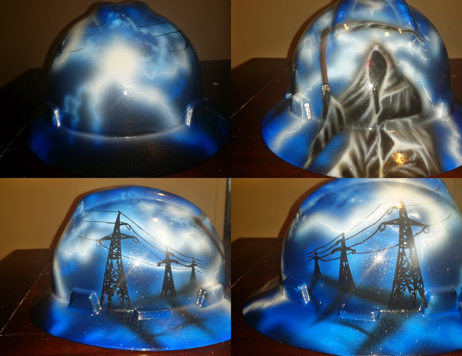 custom hard hat with grim reaper and lightning