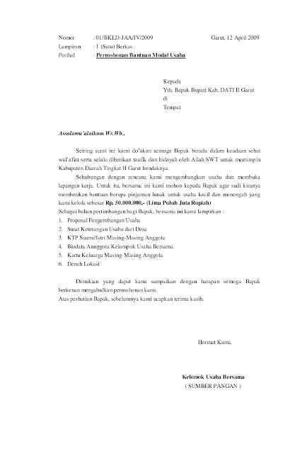 Contoh Proposal Permohonan Bantuan