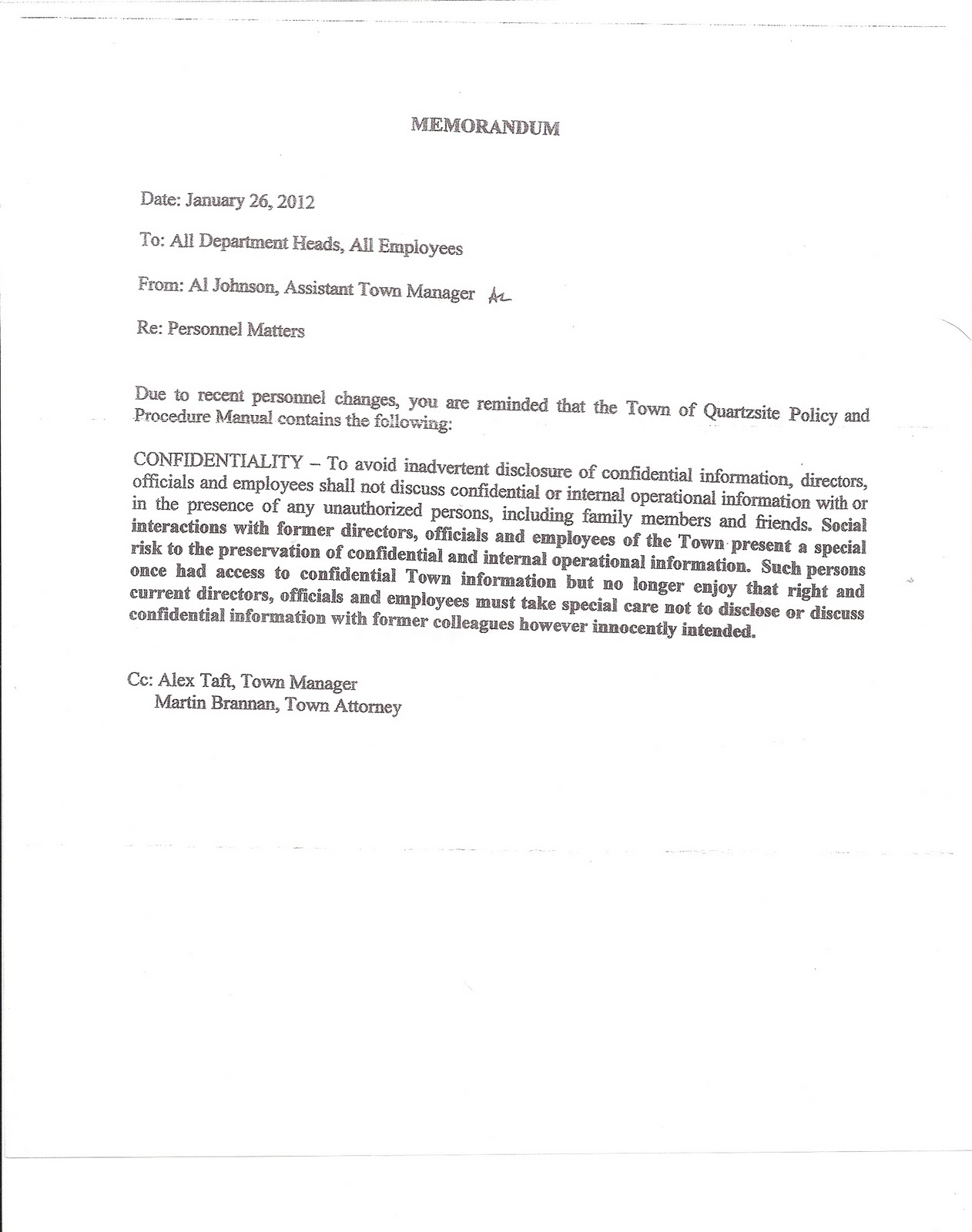 The DESERT FREEDOM PRESS Town confidentiality memo no longer – Confidential Memo Template