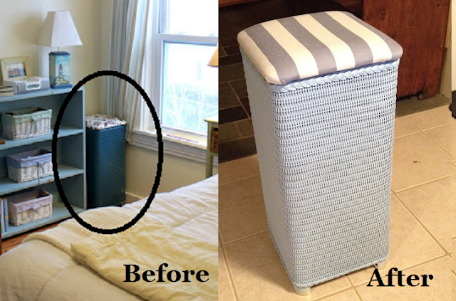 DIY Paint and Reupholster Wicker Hamper