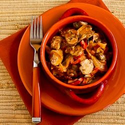... ®: Vegetarian Mushroom Stew with Red Bell Pepper, Onion, and Paprika