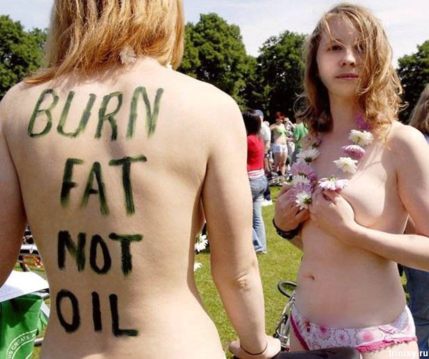 In Washington, DC, participating in an international nude bike riding event, to protest against gasoline consumption, oil depletion and air pollution.
