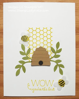 Punch Art Bee card made with the Honeycomb Stamp from Stampin'UP!'s July My Paper Pumpkin Craft Kit
