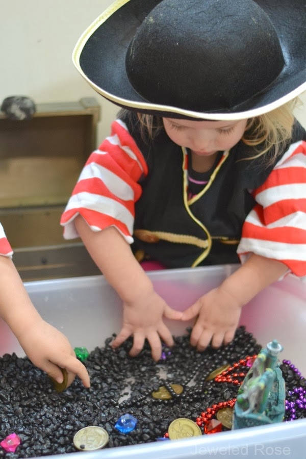 Indoor treasure hunt in a sensory bin- easy to set up and tons of fun!