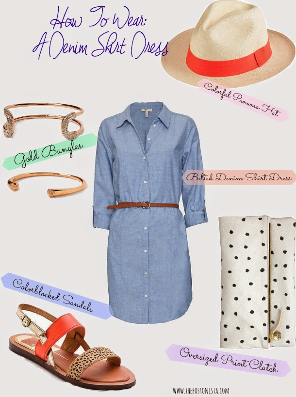 How To Wear A Denim Shirt Dress, Boston Fashion Blog, Boston Fashion, Shopping, Outfits, Joie Belted Denim Dress, Women's  Panama Hat, Jcrew Panama Hat, Clare V Foldover Clutch