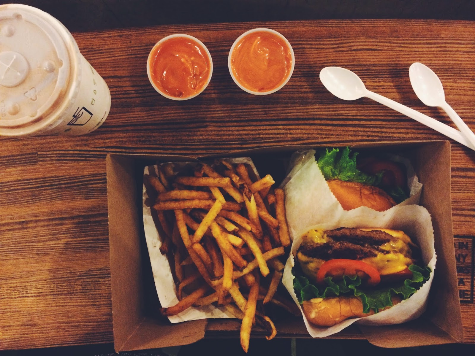Burger, Fries, Chocolate Shake