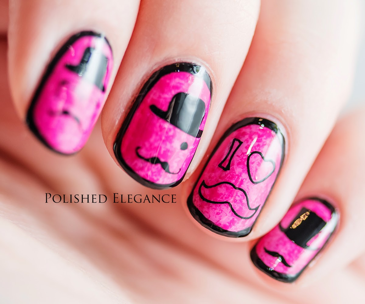MoYou Nails stamping plate review moustache nail art manicure movember nail art manicure like a sir nail art manicure