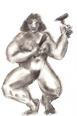 Sculptor, a drawing by F. Lennox Campello