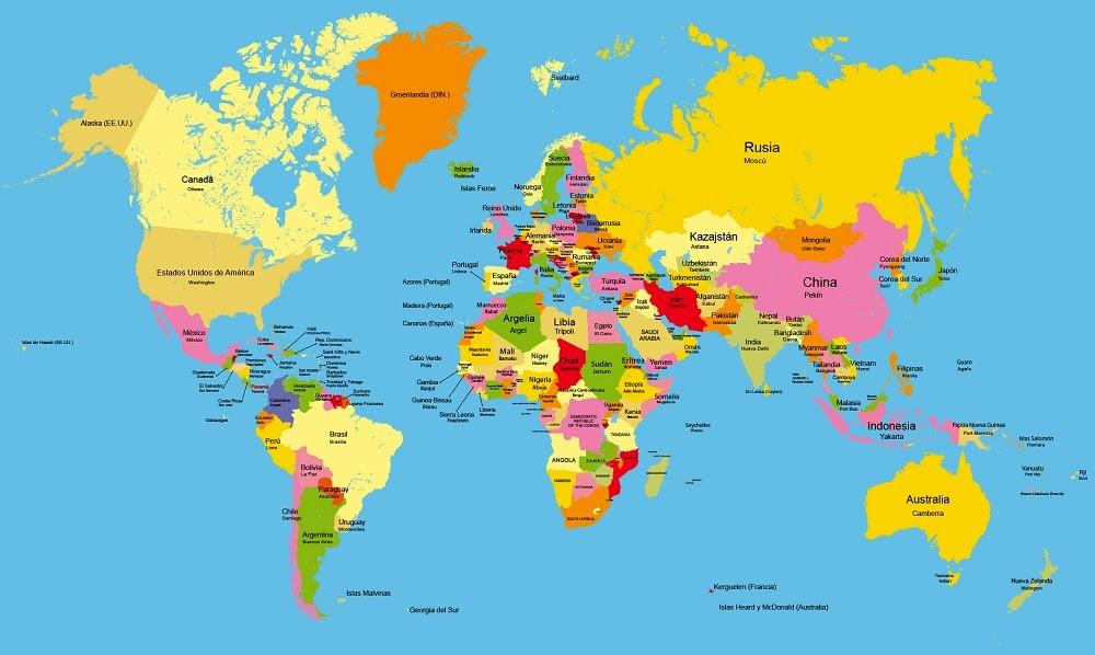 Mapas: Planisferio político con nombres - Color