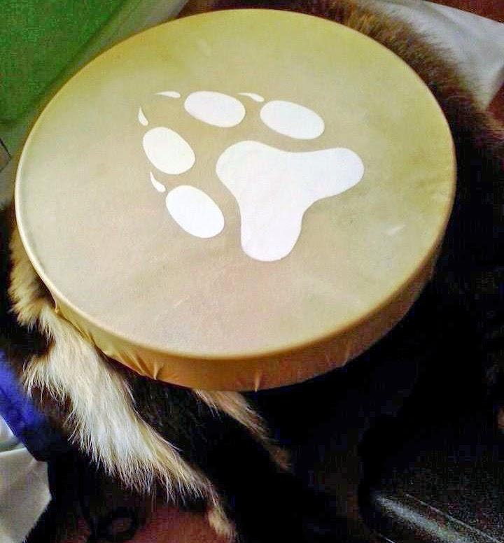 Anishinaabe Woodland artist Simone McLeod painted hand drum
