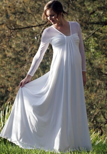 Chiffon V-Neck Empire A-Line Long Maternity Wedding Dress