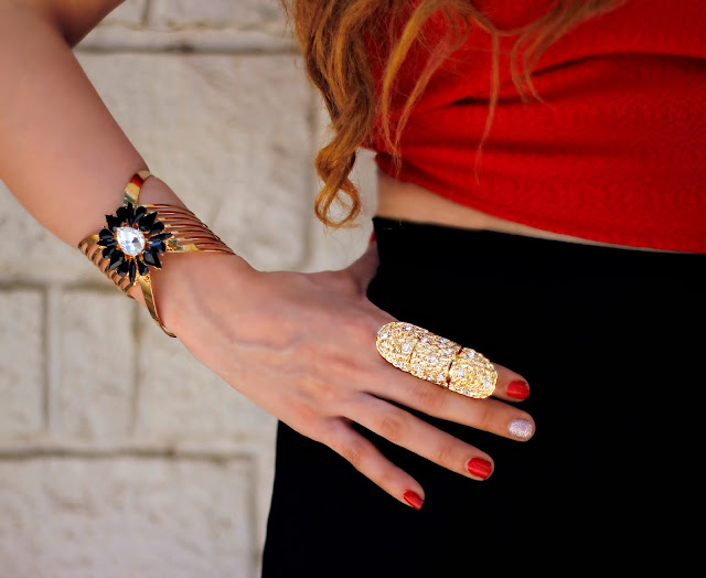 Gold Stone Cuff Bracelet, Gold Statement Ring