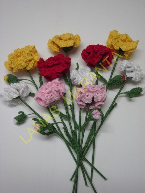 Lanas maranta clavel de ganchillo - Hacer flores de ganchillo ...