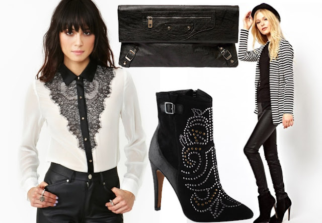 black white outfit, stripe jacket, lace shirt, isabel marant boots