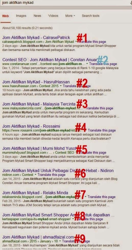Pemenang Contest SEO Jom Aktifkan Mykad