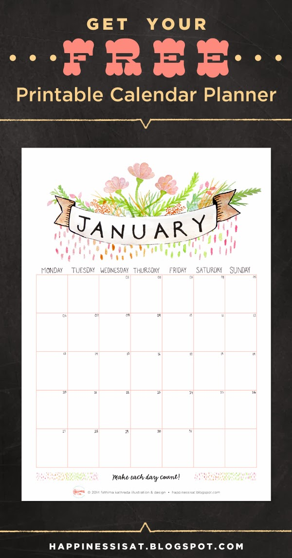 Free printable January 2014 calendar! Designed & illustrated by fathima at Happiness is...
