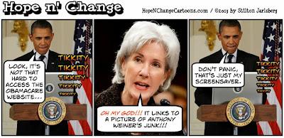 obama, obama jokes, cartoon, hope n' change, hope and change, stilton jarlsberg, tea party, conservative, obamacare, sibelius, healthcare.gov, glitch, weiner, computer