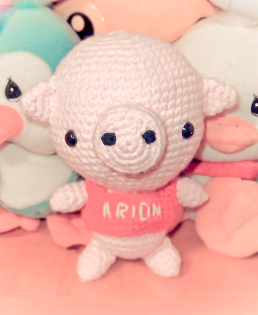 crocheted pig amigurumi with soft toys