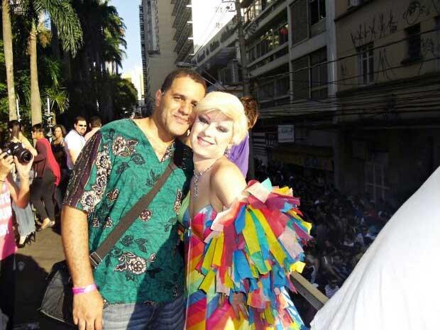 O casal Deco Ribeiro e Lohren Beauty durante festa, em Campinas (Foto: Arquivo Pessoal)
