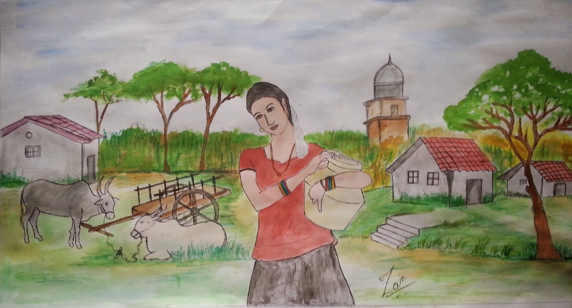 Indian daily life poster color painting with oil pastel of indian woman on her village daily life with background of village scene