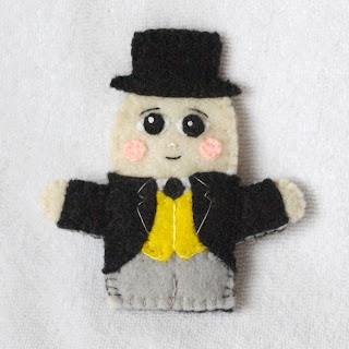 Sir Topham Hatt felt finger puppet handmade by Joanne Rich for her friends daughter.
