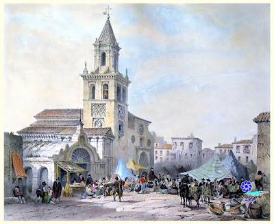 Sevilla - Iglesia de Omnium Sanctorum y Mercado de la calle Feria hacia 1830