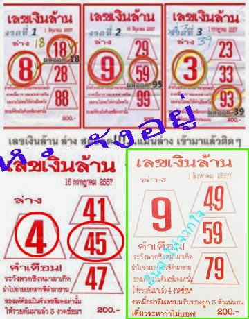 Thai Lotto Special Down Touch and Direct 01-08-2014