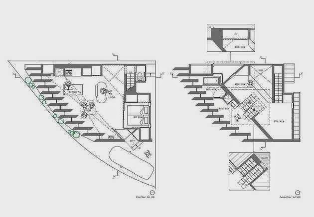 Triangular house in muko design with 1 large room and for House plans for triangular lots