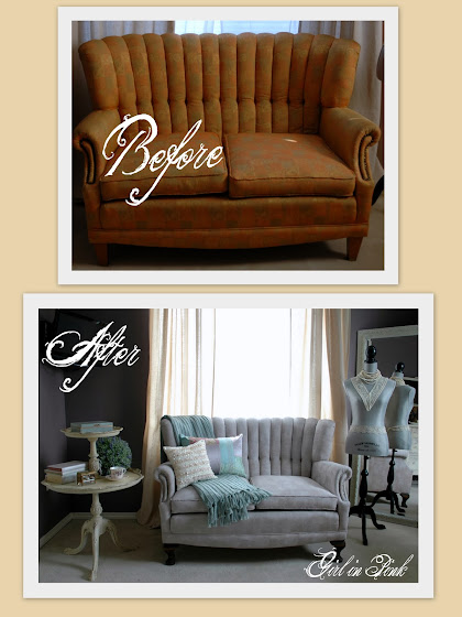 Girl In Pink Painted Sofa Before After And Master Bedroom Updates