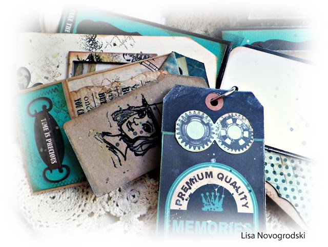 Bag and Tag Mini Album by Lisa Novogrodski using Marion Smith Time Keeper and Kaisercraft Time Machine