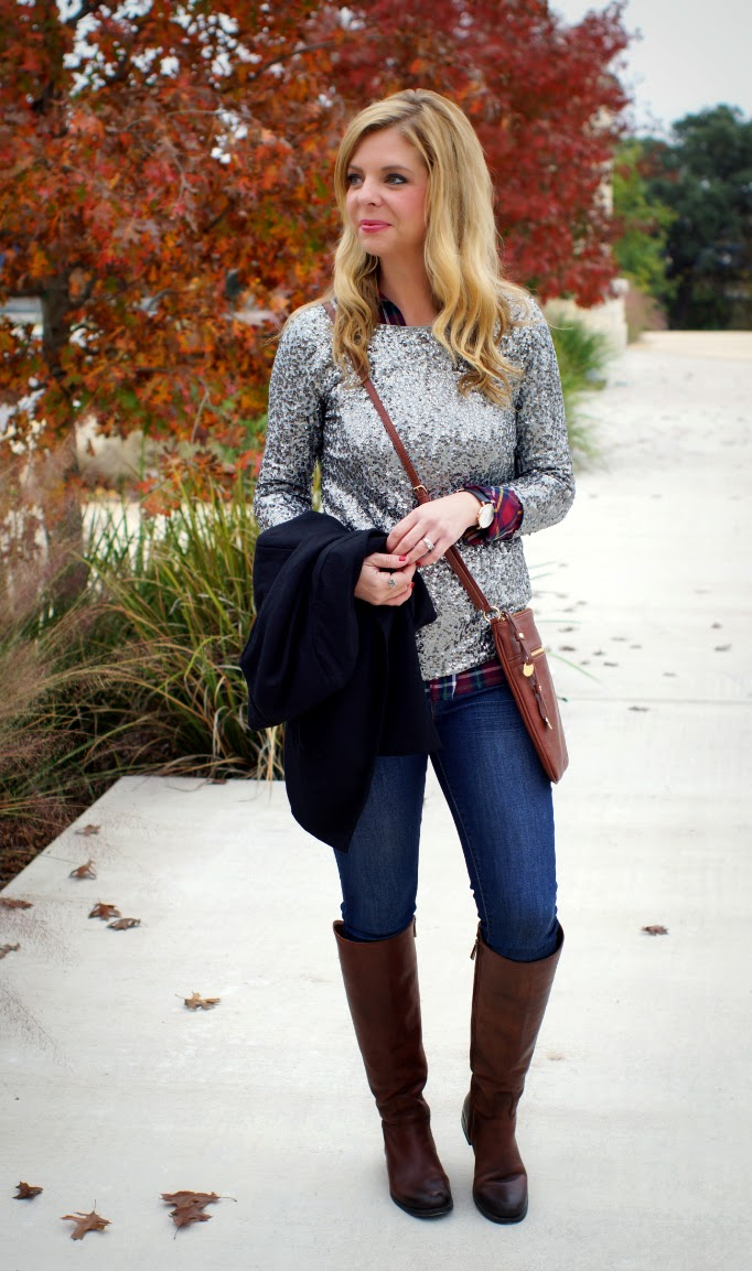 plaid shirt layered with a sequin top