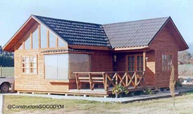 Casa prefabricada de madera tipo chalet en Chile