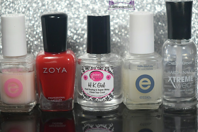 Essie Grow Stronger, Zoya Renee, Glisten & Glow HK Girl Fast Drying Top Coat, Essie Matte About You, Sally Hansen Xtreme Wear Clear Invisible
