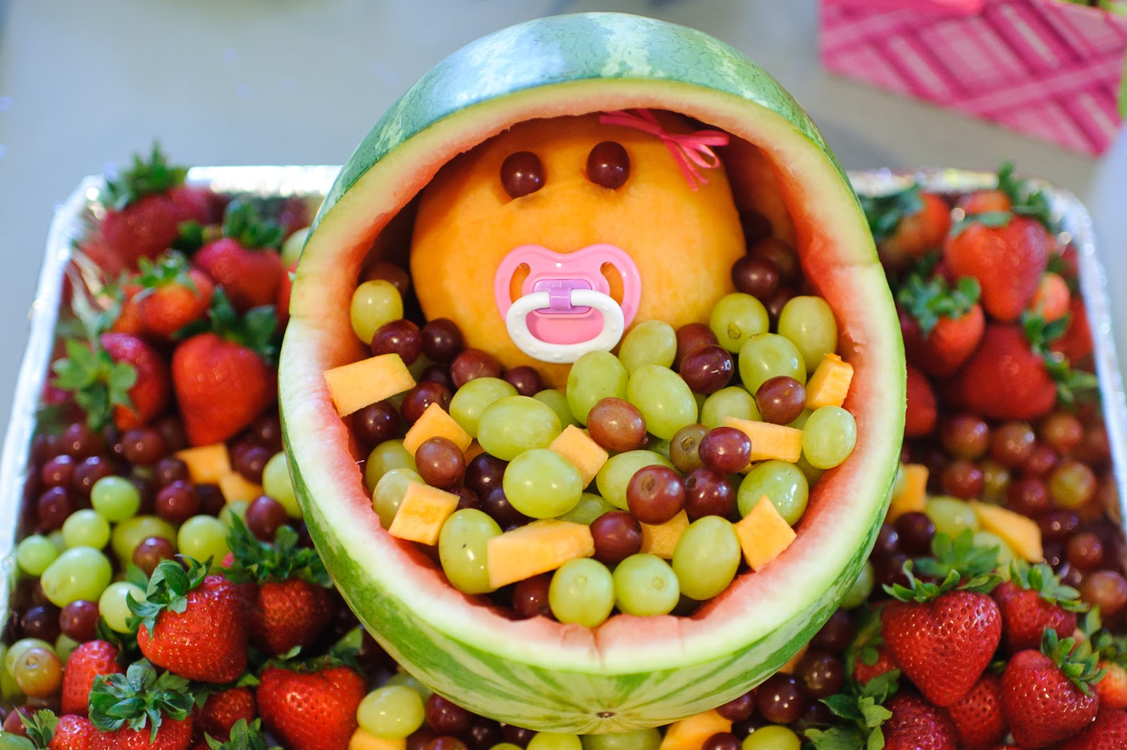 The mandatory mooch baby shower fruit bassinet for Baby shower food decoration ideas