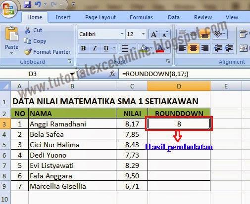 Hasil pembulatan ke bawah pada Excel