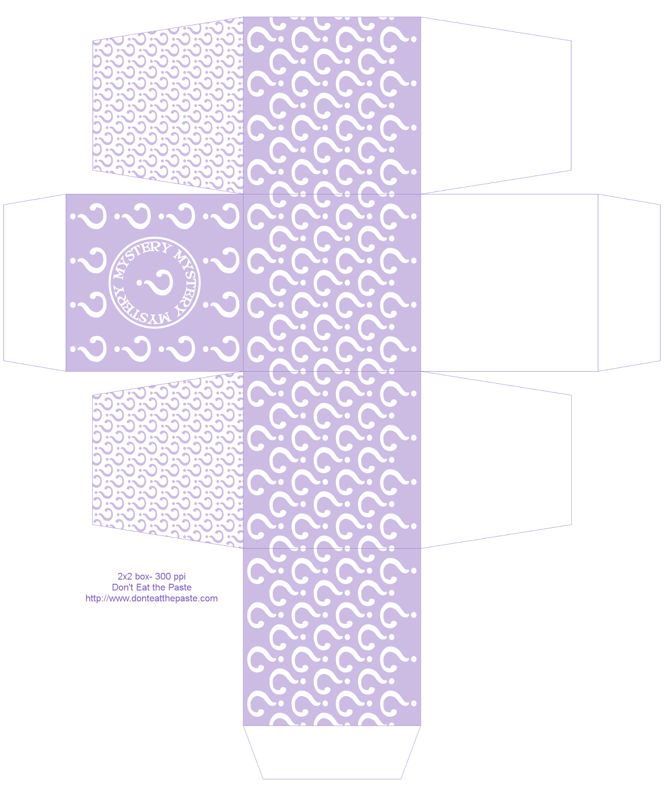 Printable mystery box- also available in orange, green and teal #paper #crafts #partyideas