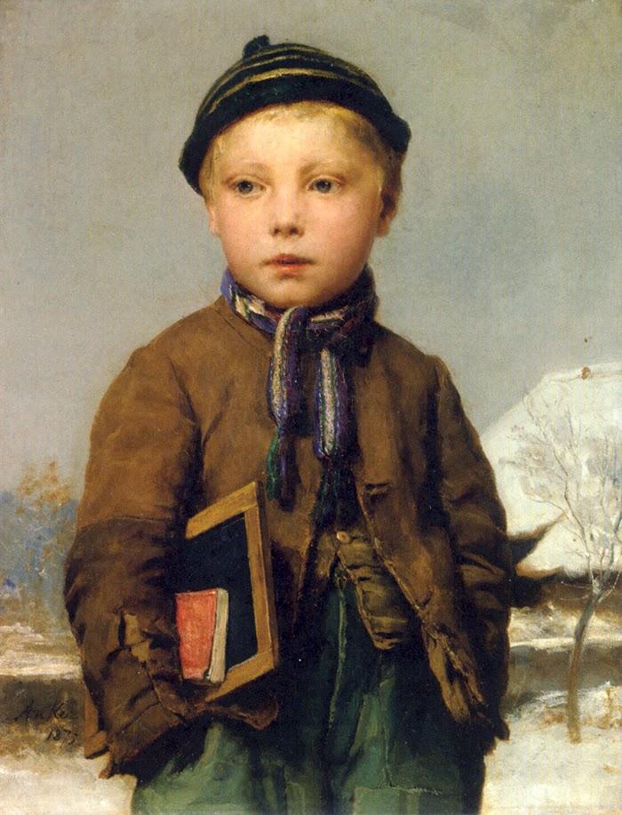 albert anker,genre painting,snowing