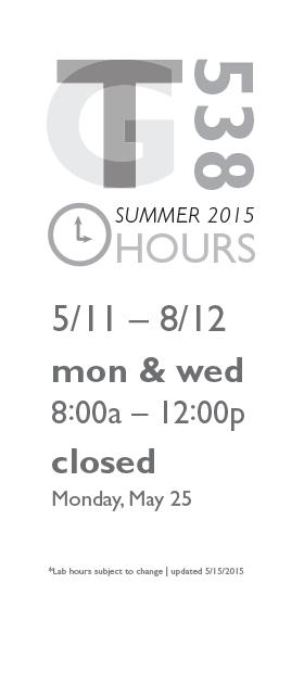 GT538 Summer 2015 hours