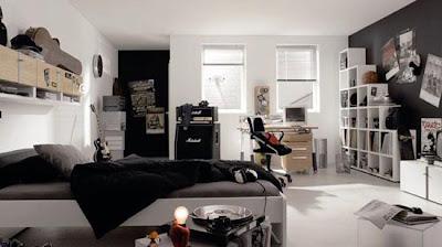 dormitorio juvenil acentos color negro