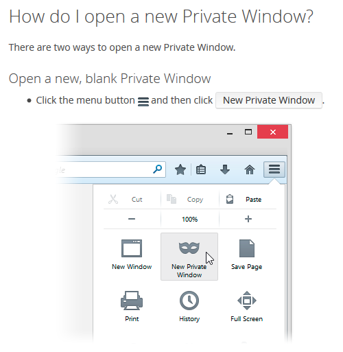 Private window on firefox browser