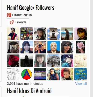 Hanif Google+ Follower Kini 3000 Orang