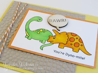 Dinosaur Card Stamped by Newton's Nook Designs2