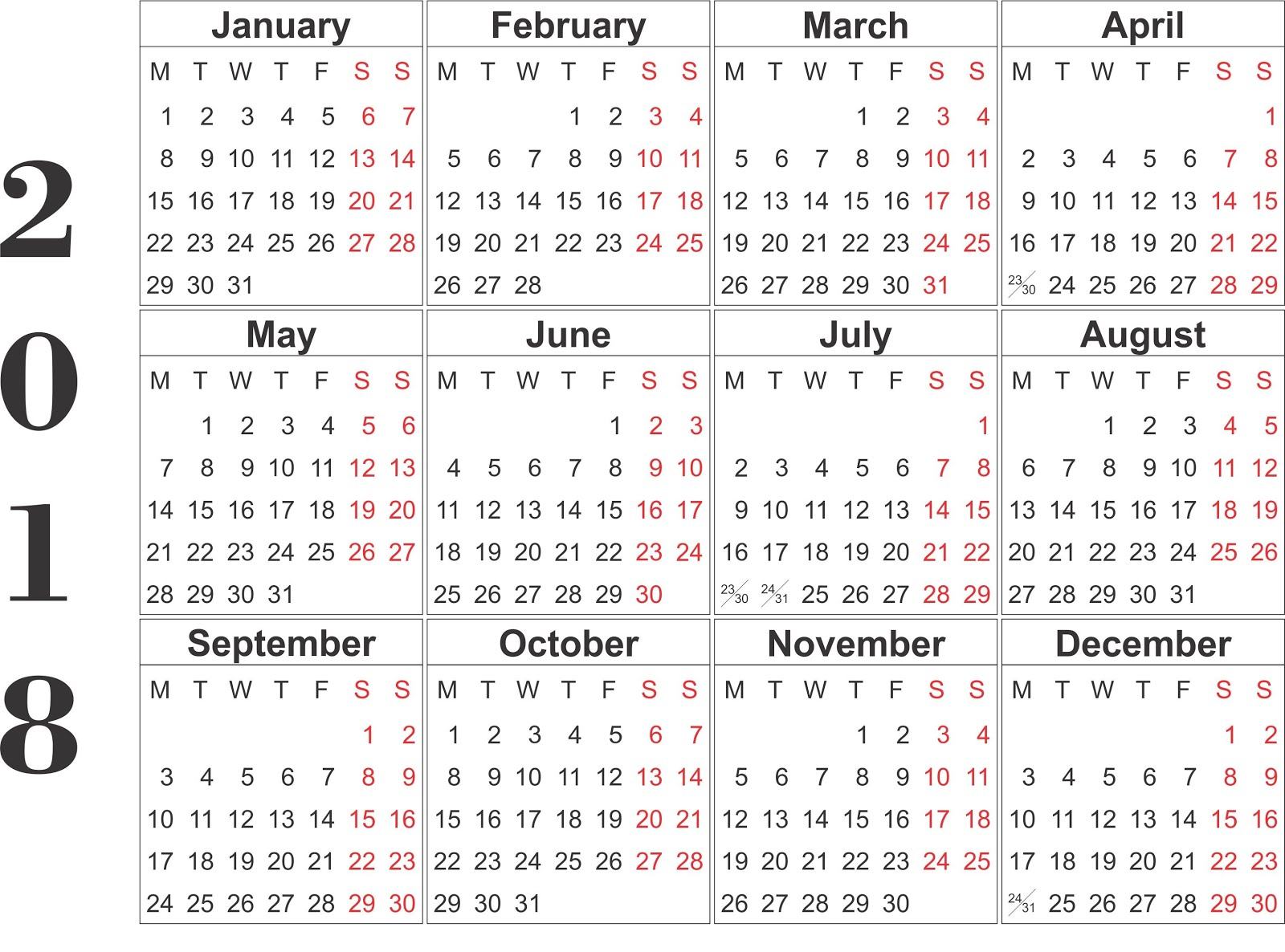 free 2018 monthly calendar