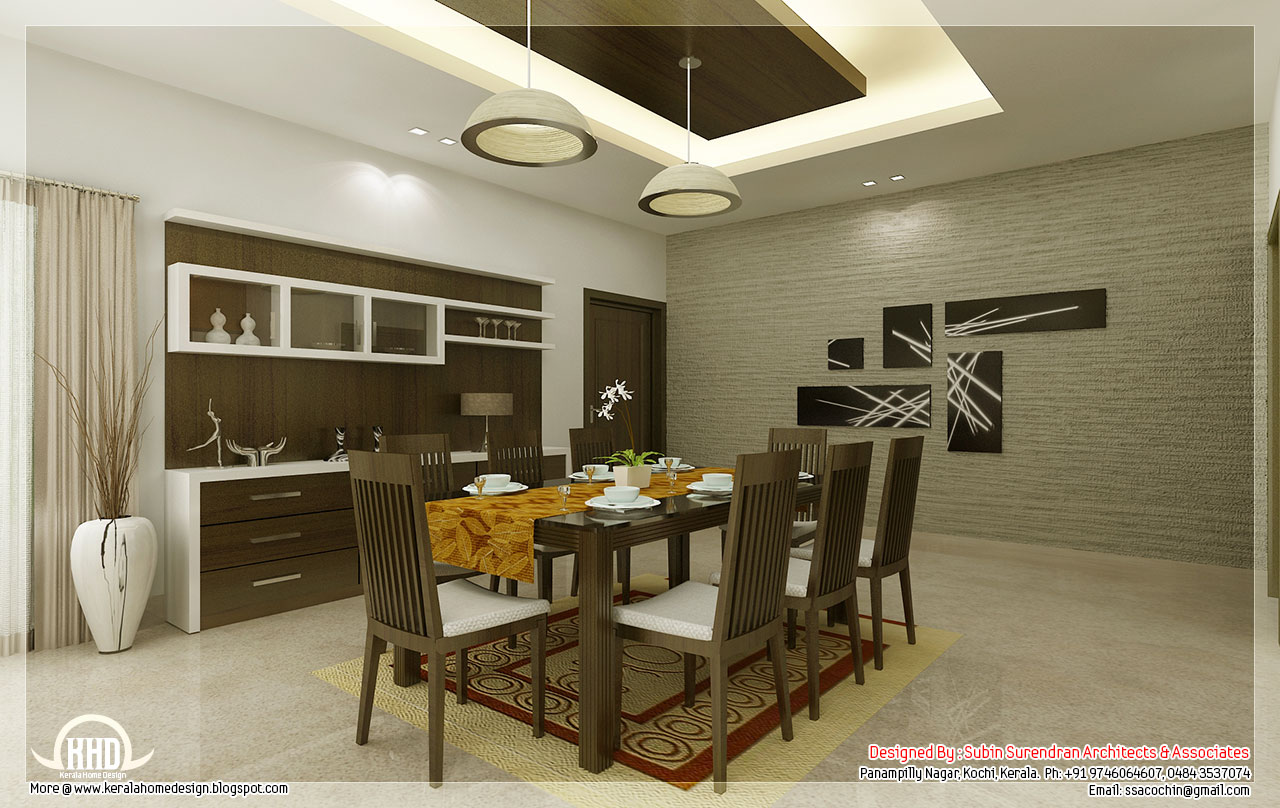 Kitchen and dining interiors kerala home design and for House dining hall design