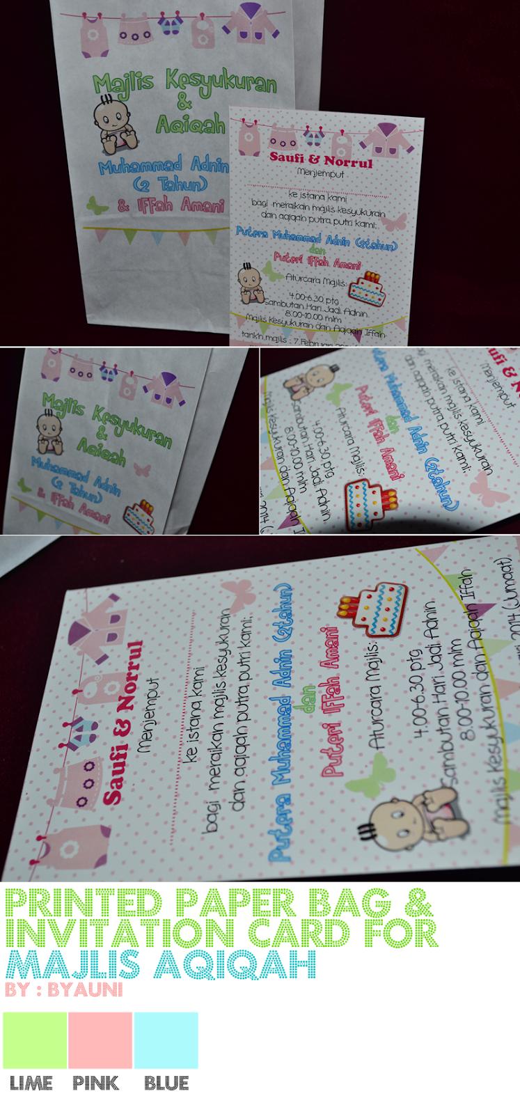 By Auni The Designer Printed Paper Bag For Majlis Aqiqah Together