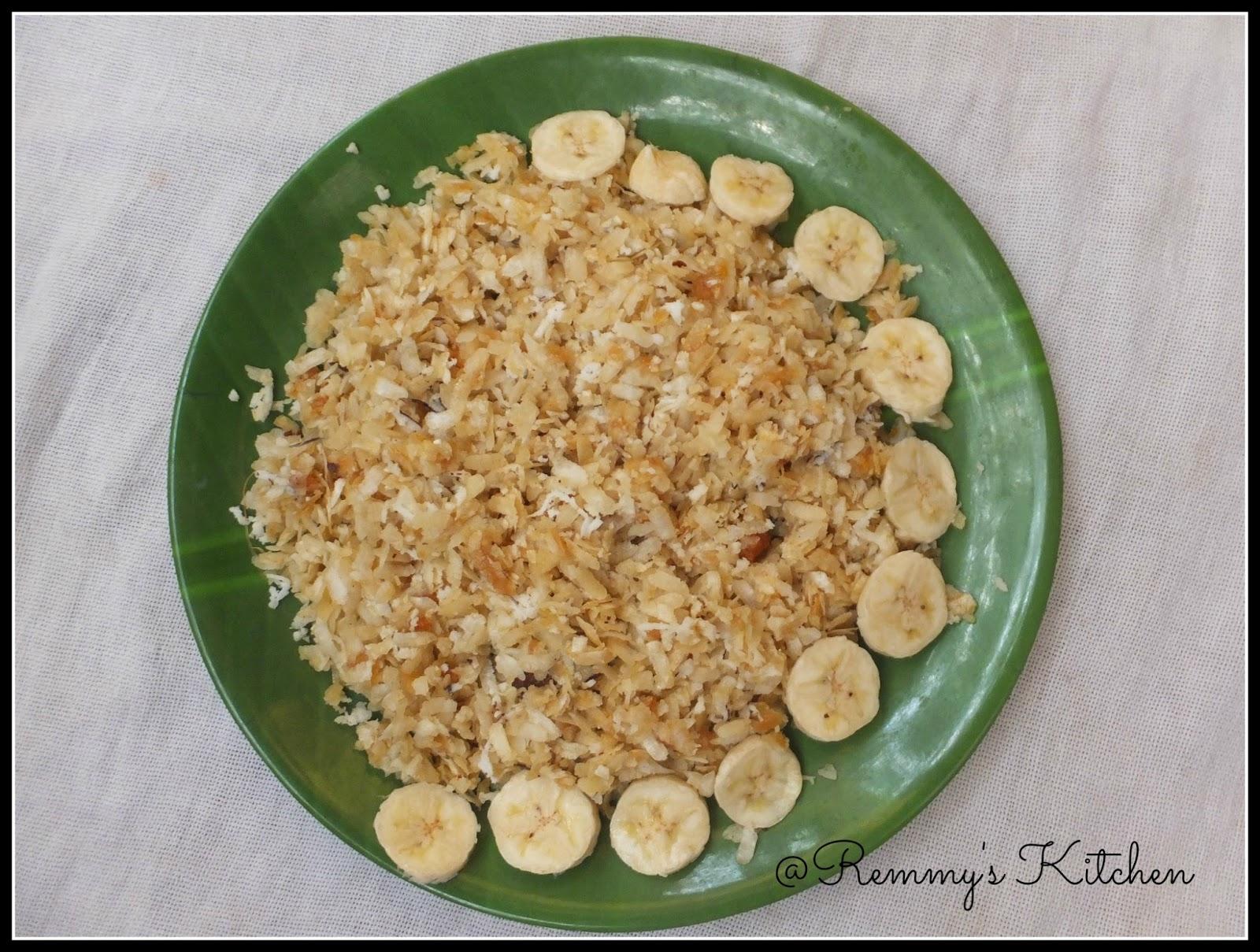 Aval nanachathu / Sweetend rice flakes