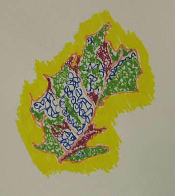 marker drawing of a dead leaf