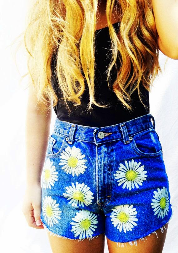 Daisy High Waisted Shorts High Waist Denim Women's Clothing Jean