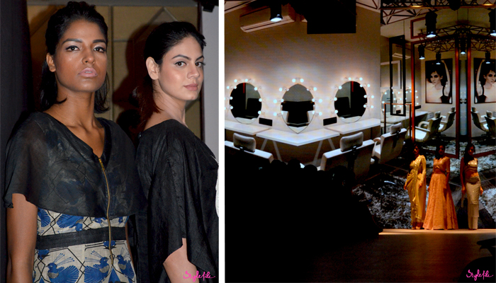 Models pose for the camera in the backstage area before Arunima Majhi's show, the ramp is lit up with a projection of a beauty salon at Lakme Fashion Week Winter Festive 2015 at the St. Regis Hotel