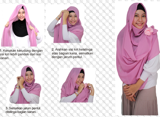 Gambar Tutorial Hijab Modern Syar'i